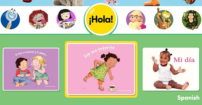 Some of the books from the new Spanish language series for toddlers