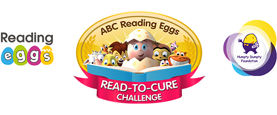 Logos of Reading Eggs, Read-To-Cure and Humpty Dumpty Foundation